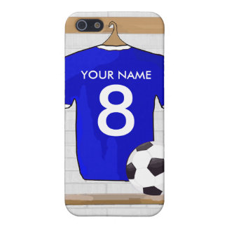 Personalized Blue White Football Soccer Jersey iPhone 5/5S Covers