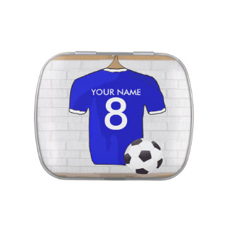 Personalized Blue White Football Soccer Jersey Jelly Belly Tins