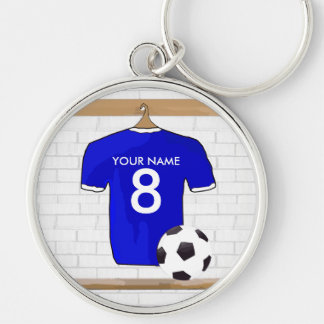 Personalized Blue White Football Soccer Jersey Key Chain