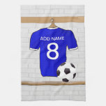 Personalized Blue White Football Soccer Jersey Towel