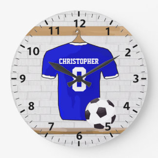 Personalized Blue White Football Soccer Jersey Large Clock