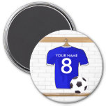 Personalized Blue White Football Soccer Jersey 3 Inch Round Magnet