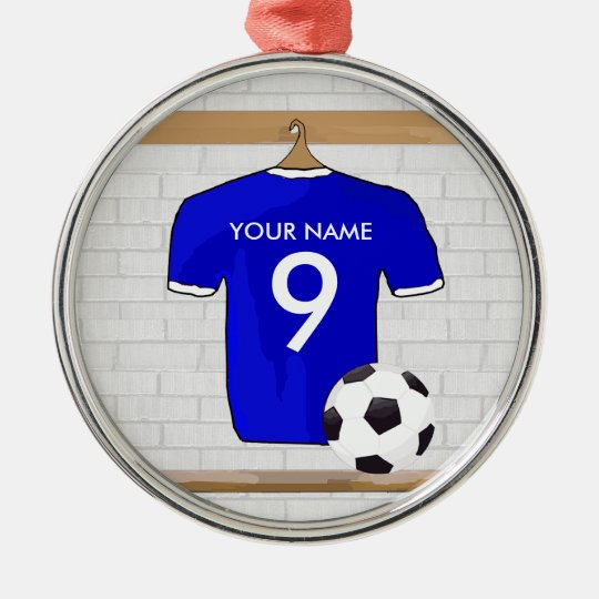 Personalized Blue White Football Soccer Jersey Metal Ornament