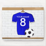 Personalized Blue White Football Soccer Jersey Mouse Pad