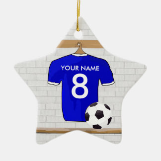 Personalized Blue White Football Soccer Jersey Ornament