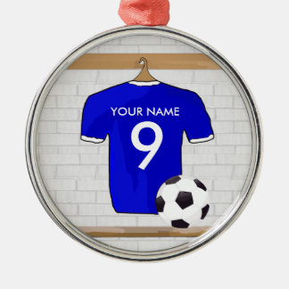 Personalized Blue White Football Soccer Jersey Christmas Ornaments