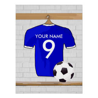 Personalized Blue White Football Soccer Jersey Poster