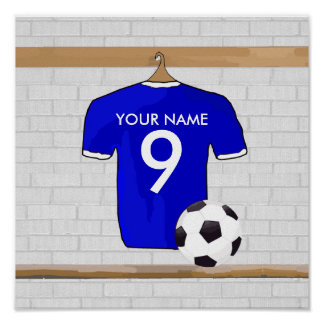 Personalized Blue White Football Soccer Jersey Print