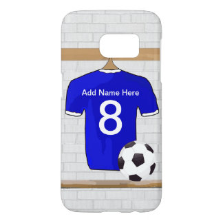 Personalized Blue White Football Soccer Jersey Samsung Galaxy S7 Case
