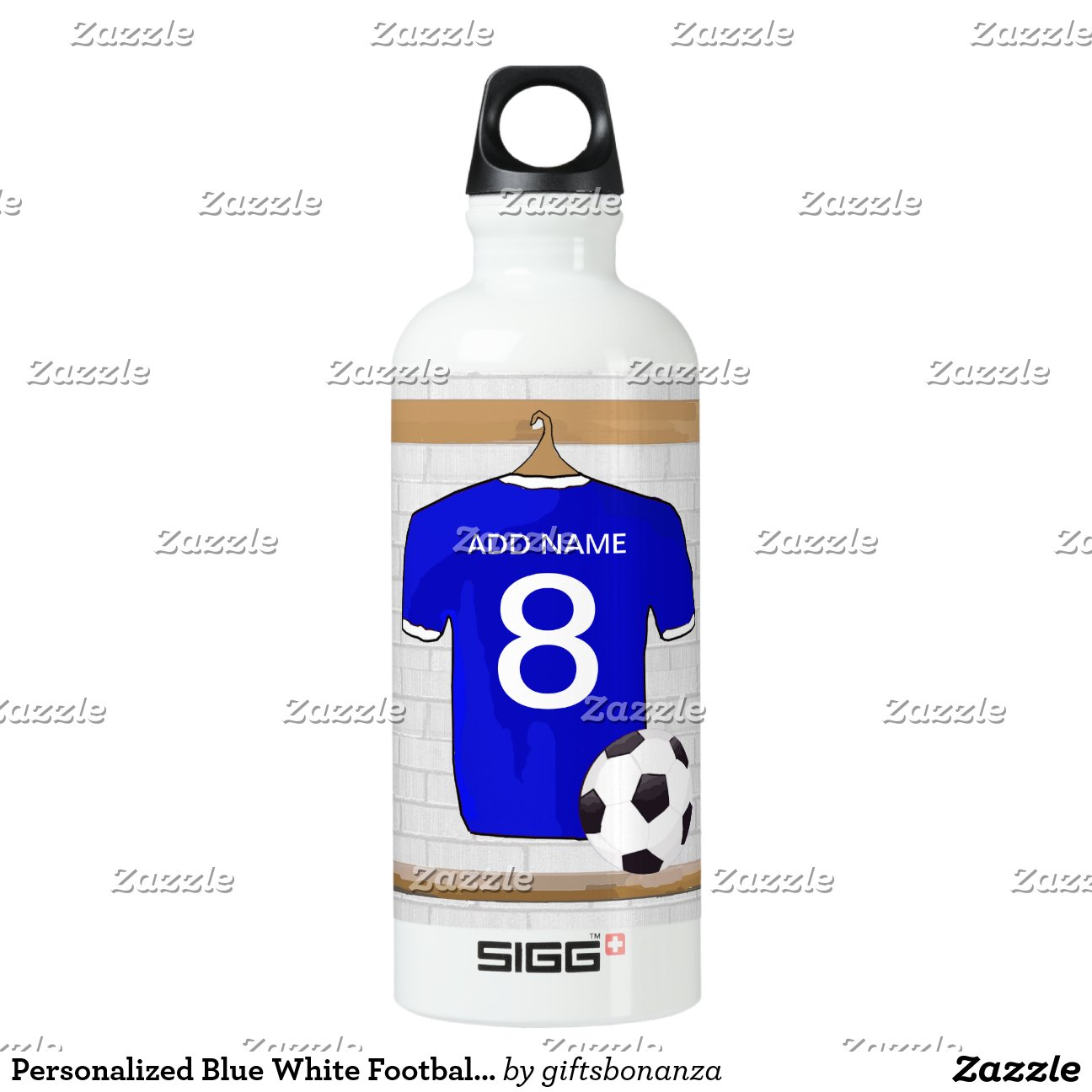 Personalized Blue White Football Soccer Jersey Sigg Traveler  L