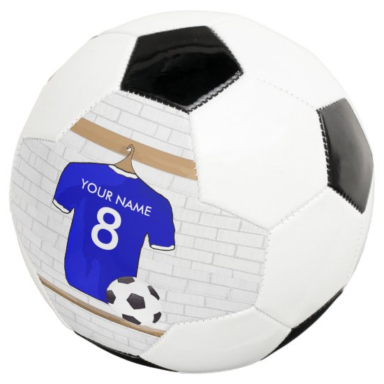 Personalized Blue White Football Soccer Jersey Soccer Ball