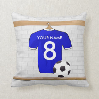 Personalized Blue White Football Soccer Jersey Throw Pillow