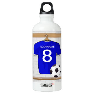 Personalized Blue White Football Soccer Jersey Water Bottle