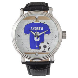 Personalized Blue White Football Soccer Jersey Wristwatch