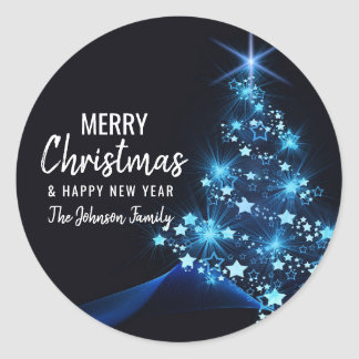 Personalized BLUE White MERRY CHRISTMAS Tree Classic Round Sticker