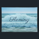 """Personalized Blue White Ocean Waves Crashing Placemat<br><div class=""""desc"""">Personalize this placemat  which features a photo of the gorgeous white splash of a big surfing wave off the coast of the Outer Banks.</div>"""