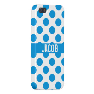 Personalized Blue &White Polka Dots iPhone 5 Cases
