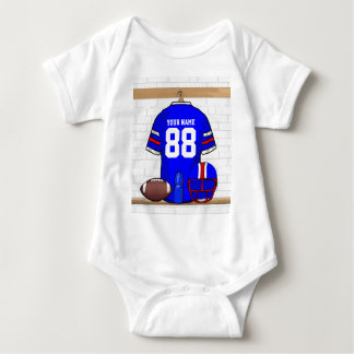 Personalized Blue White Red Football Jersey Baby Bodysuit