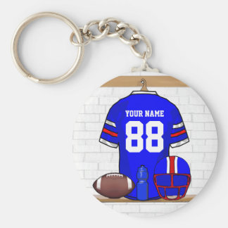 Personalized Blue White Red Football Jersey Basic Round Button Keychain