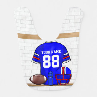 Personalized Blue White Red Football Jersey Bib