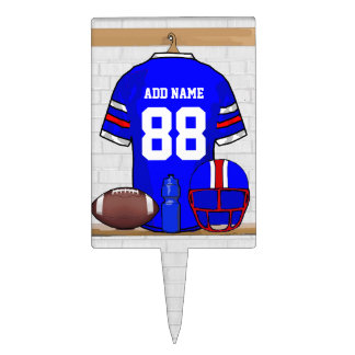 Personalized Blue White Red Football Jersey Cake Topper