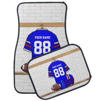 Personalized Blue White Red Football Jersey Car Mat