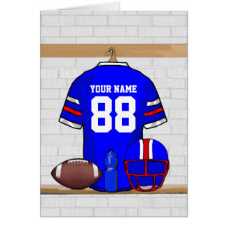 Personalized Blue White Red Football Jersey Greeting Card