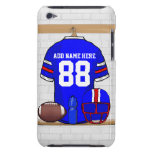 Personalized Blue White Red Football Jersey Barely There iPod Covers