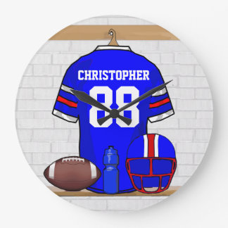 Personalized Blue White Red Football Jersey Wall Clock