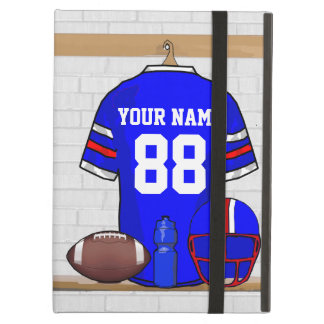 Personalized Blue White Red Football Jersey Cover For iPad Air