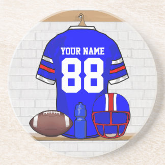 Personalized Blue White Red Football Jersey Drink Coaster