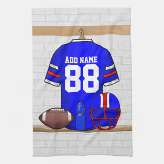 Personalized Blue White Red Football Jersey Hand Towel