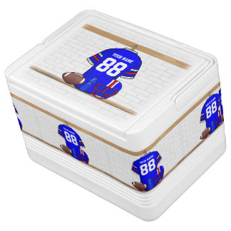 Personalized Blue White Red Football Jersey Igloo Drink Cooler