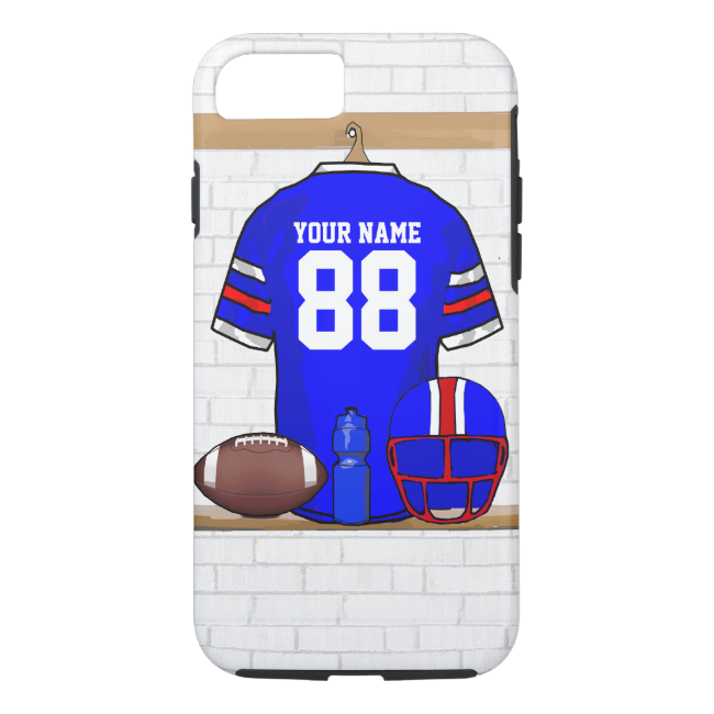 Personalized Blue White Red Football Jersey iPhone 7 Case