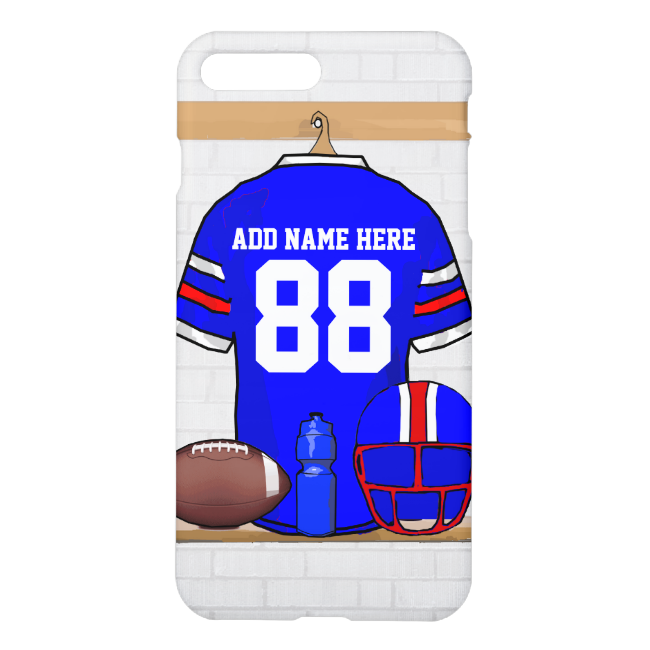 Personalized Blue White Red Football Jersey iPhone 7 Plus Case