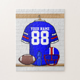 Personalized Blue White Red Football Jersey Jigsaw Puzzle