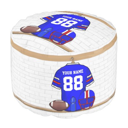 Personalized Blue White Red Football Jersey Round Pouf