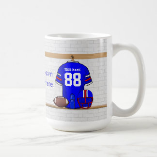 Personalized Blue White Red Football Jersey Classic White Coffee Mug