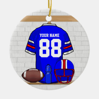 Personalized Blue White Red Football Jersey Double-Sided Ceramic Round Christmas Ornament