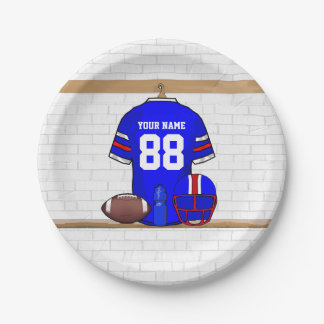 Personalized Blue White Red Football Jersey Paper Plate