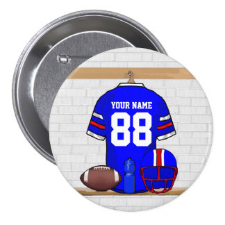 Personalized Blue White Red Football Jersey Pinback Button