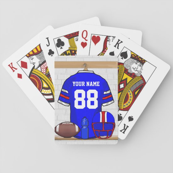 Personalized Blue White Red Football Jersey Playing Cards