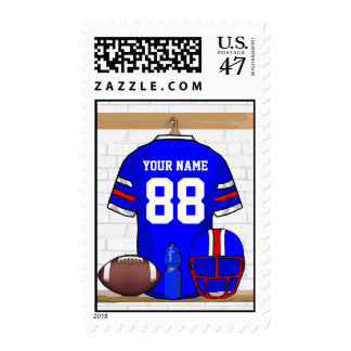 Personalized Blue White Red Football Jersey Postage