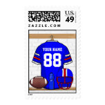 Personalized Blue White Red Football Jersey Postage Stamps