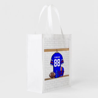 Personalized Blue White Red Football Jersey Reusable Grocery Bag