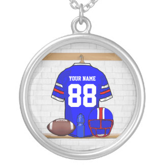 Personalized Blue White Red Football Jersey Round Pendant Necklace