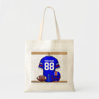 Personalized Blue White Red Football Jersey Tote Bag