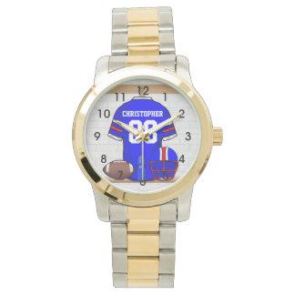 Personalized Blue White Red Football Jersey Wrist Watch