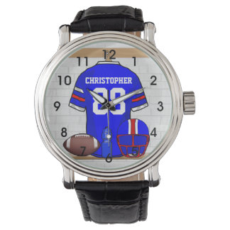 Personalized Blue White Red Football Jersey Watches