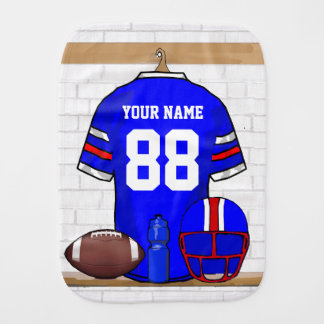 Personalized Blue White Red Football Jersey Baby Burp Cloths